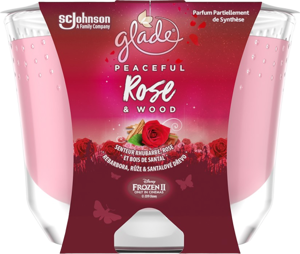Glade MAXI Peaceful Rose & Wood vonná svíčka