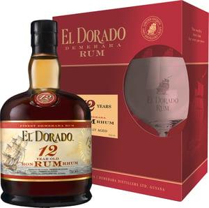 El Dorado Rum 12 YO 40%, dárkové balení se skleničkou