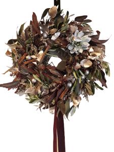 Z Herbáře Věnec vánoční závěsný vínová-rosegold