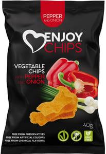 Enjoy Chips Zeleninové chipsy - paprika a jarní cibulka
