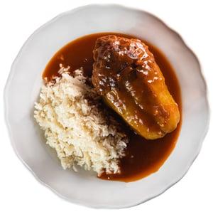 Plněný paprikový lusk s pečenou rýží z Kantýny