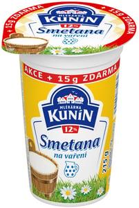 Mlékárna Kunín Smetana na vaření 12% 200g+15g