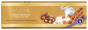 Lindt Swiss Premium mléčná čokoláda s lískovými oříšky