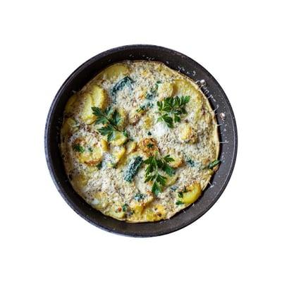 Bramborová omeleta s medvědím česnekem