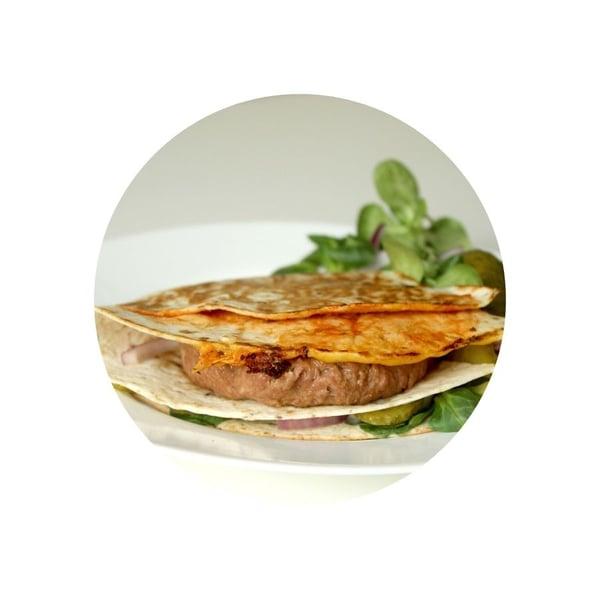 Zapečené burger tortilly
