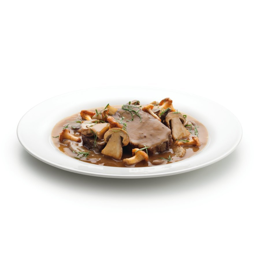 Beef entrecôte with mushrooms