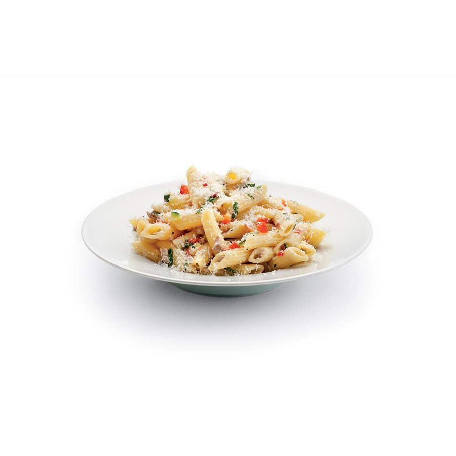 Penne with pork and vegetables