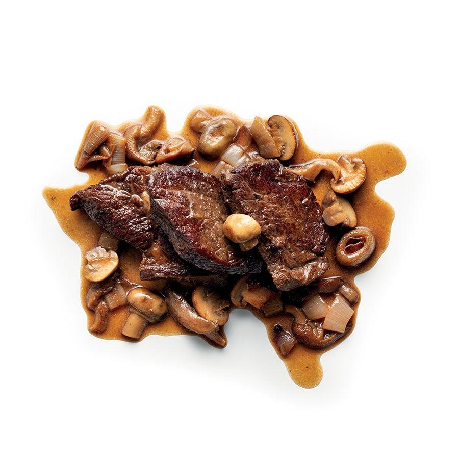 Dušené hovězí maso s houbami