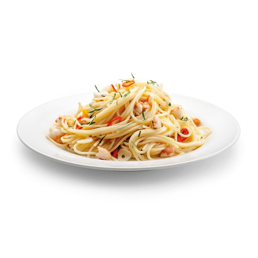 Špagety sčesnekem a krevetami